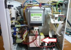 Расположение трансформатора в микроволновой печи