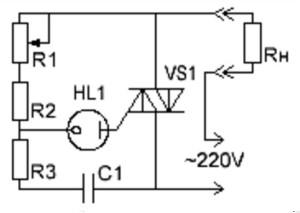 схема регулятора мощности на симисторе