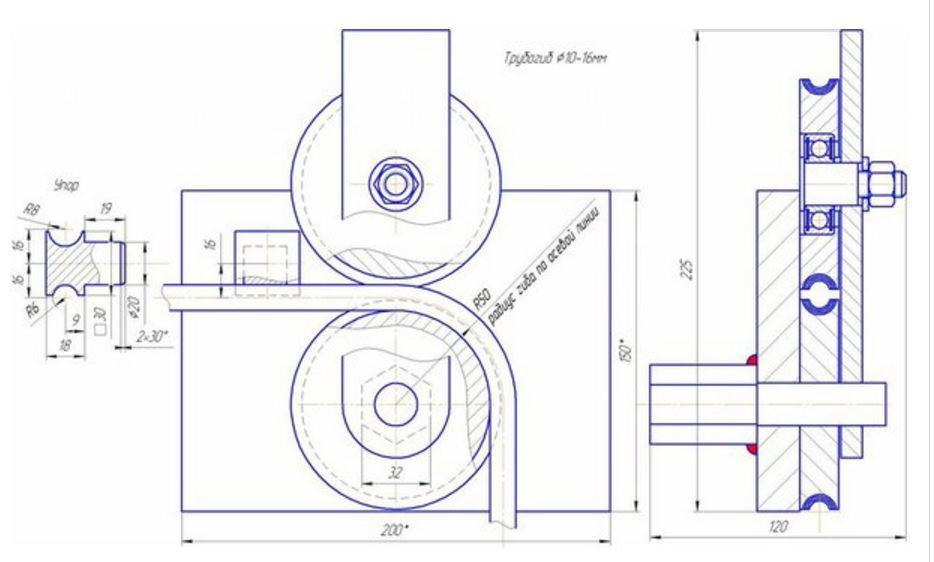 Как сделать трубогиб для круглой трубы своими руками чертежи 842