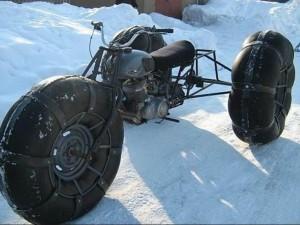 самодельный трехколесный снегоход