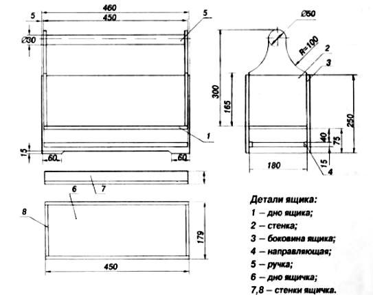 чертеж деревянного ящика для инструмента
