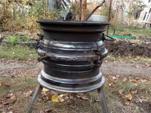 мангал из двух дисков от автомобиля