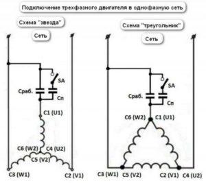 использование конденсаторов при подключении трехфазного двигателя
