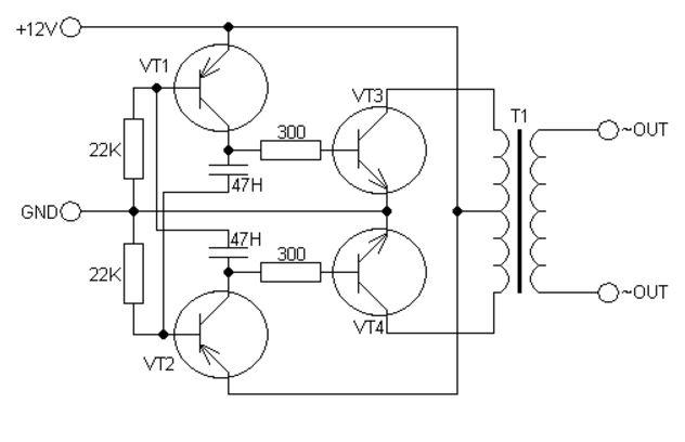 Схема преобразователя 12 220 на транзисторах