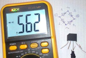 Проверка диодного моста мультиметром