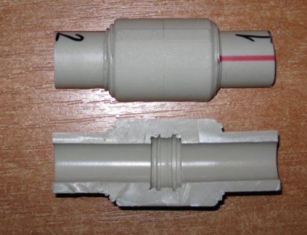 полипропиленовое соединение в разрезе