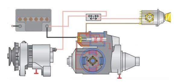 схема подключения аккумулятора и стартера к генератору автомобиля