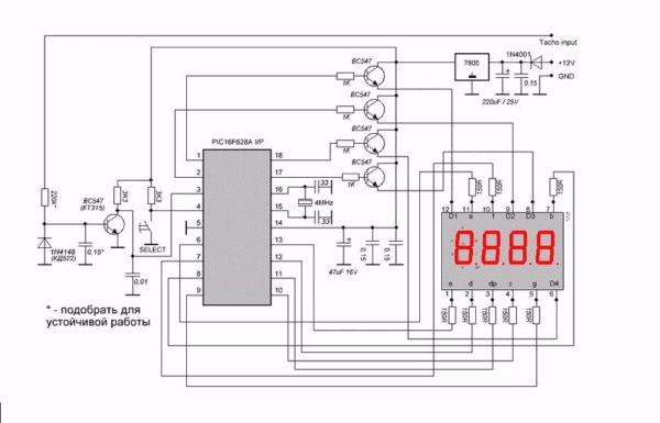 принципиальная электрическая схема тахометра