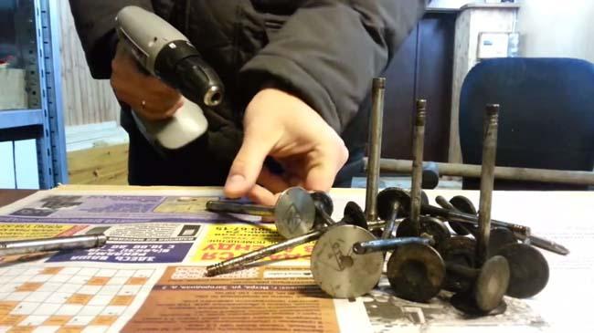 самодельная шлифовальная насадка из автомобильного клапана