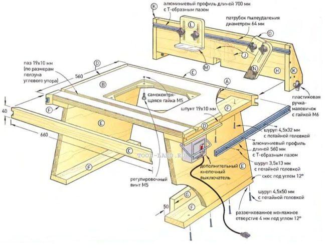 Чертеж фрезерного стола