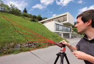 Измерение дальномером ландшафта местности