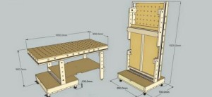 деревянный складной верстак - чертеж