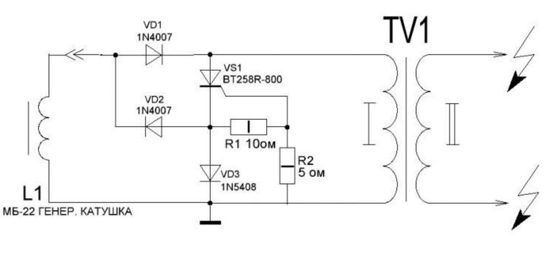электрическая схема блока зажигания бензопилы