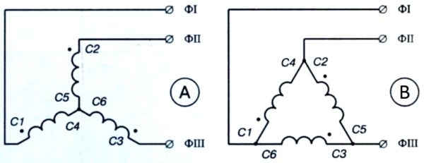 схемы подключения трехфазного электродвигателя