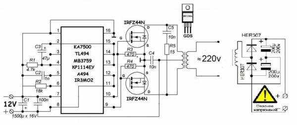 схема преобразователя на ШИМ контроллерах