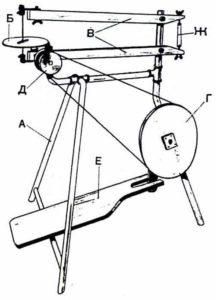 первый механический лобзиковый станок схема-чертеж