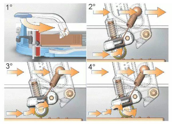 Ролик с амортизатором и переменным углом упора