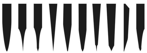 различные виды профиля лезвий ножа