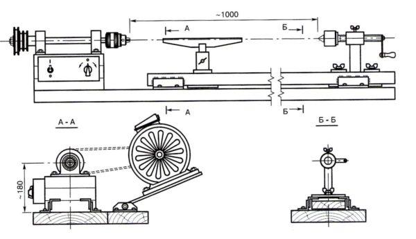 чертеж самодельного токарного станка
