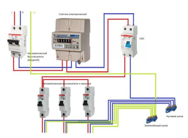 Схема подключения электрического счетчика однофазного