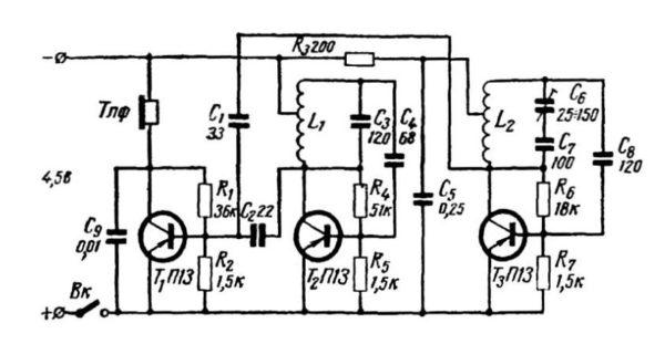 схема металлоискателя на транзисторных генераторах