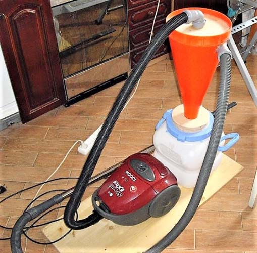 подключение бытового пылесоса к самодельному циклону