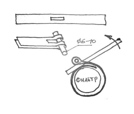 схема применения съемника при откручивании масляного фильтра